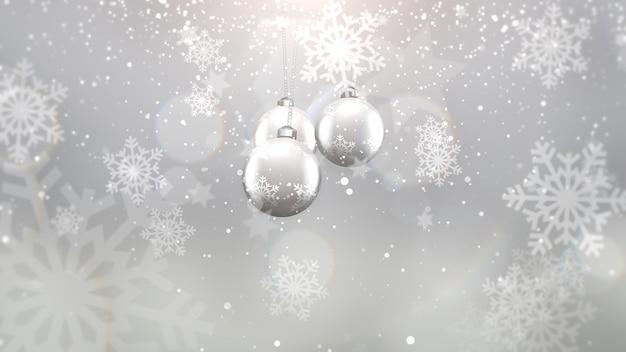紫色の背景に銀のボールと雪片をクローズアップ。冬の休日のための豪華でエレガントなダイナミックスタイルの3dイラスト