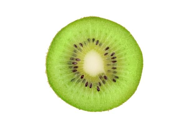 Closeup slice of one green kiwi fruit isolated on white background ripe fresh juicy single qiwi