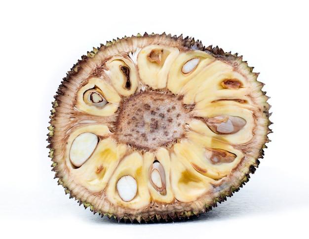 Closeup of sliced jackfruit on white background