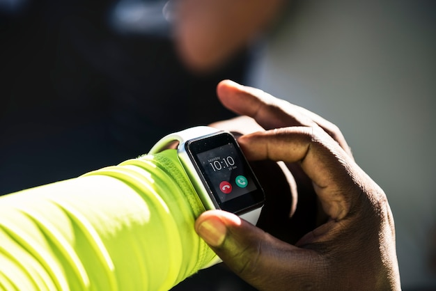 Closeup of smartwatch on a wrist