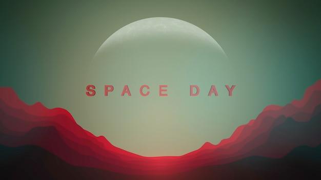 映画のような動きの惑星と宇宙の山々、抽象的な未来的な背景を持つクローズアップスペースデイテキスト。コスモスとsfをテーマにしたエレガントで豪華な3dイラストスタイル
