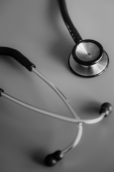 Closeup of stethoscope isolated on white table