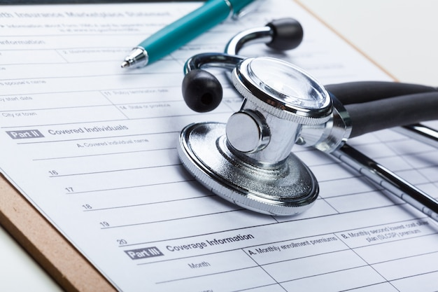 Closeup stethoscope on medical surface