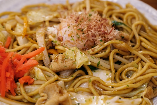 Closeup stir fried yakisoba noodle