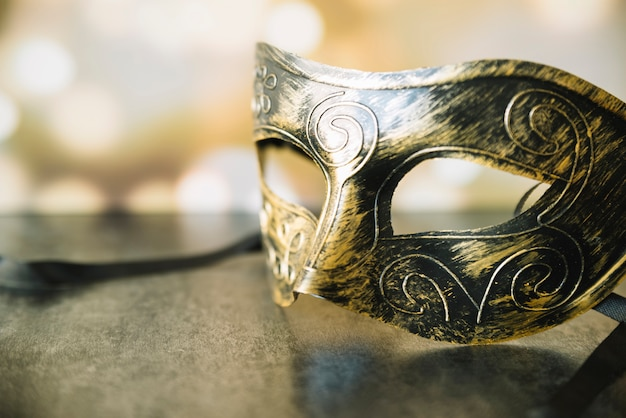 Closeup of stylish shiny mask