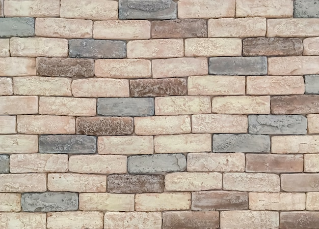 Closeup surface brick pattern at old stone brick wall texture background