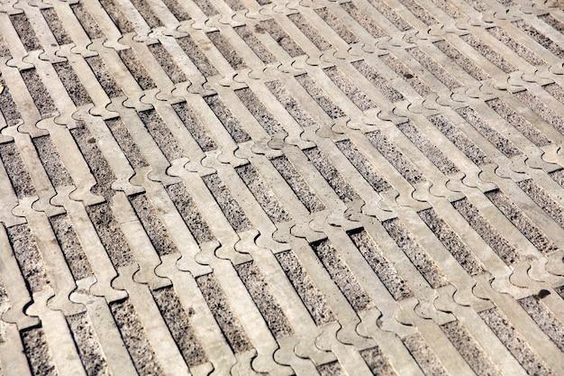 직사각형 오래 된 포장 패턴 배경의 근접 촬영 표면
