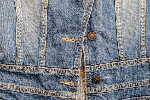 Closeup surface old jean jacket textured background