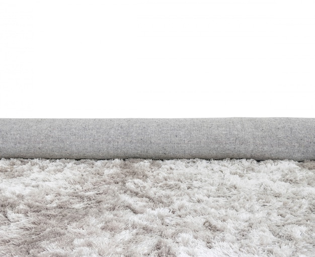 Closeup surface roll gray fabric carpet isolated on white