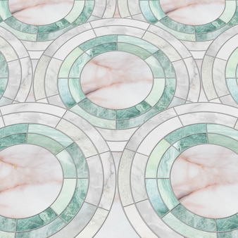 Closeup surface tile circle pattern by mix of color marble stone floor texture background