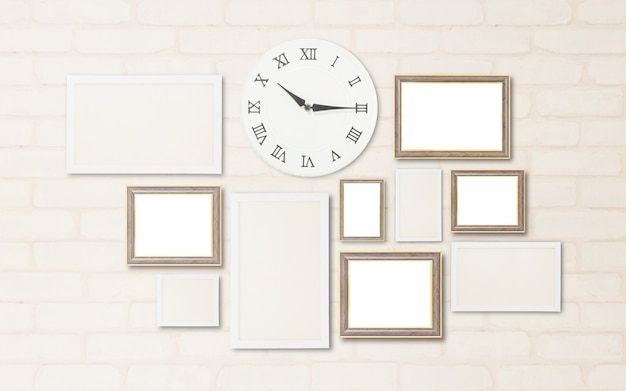 Closeup surface a wall clock show the time in a quarter past ten o'clock with blank frame for decorate on brick wall