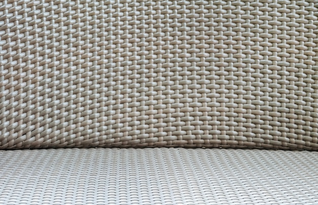 Closeup surface wood pattern at old brown wood weave chair textured background