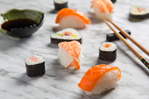 Closeup sushi composition on marble