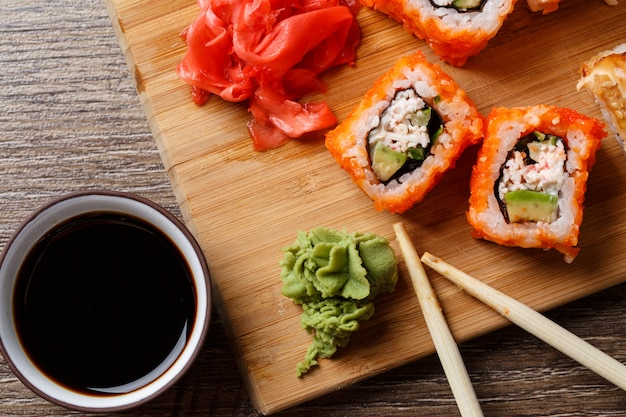 Closeup of sushi with soy sauce