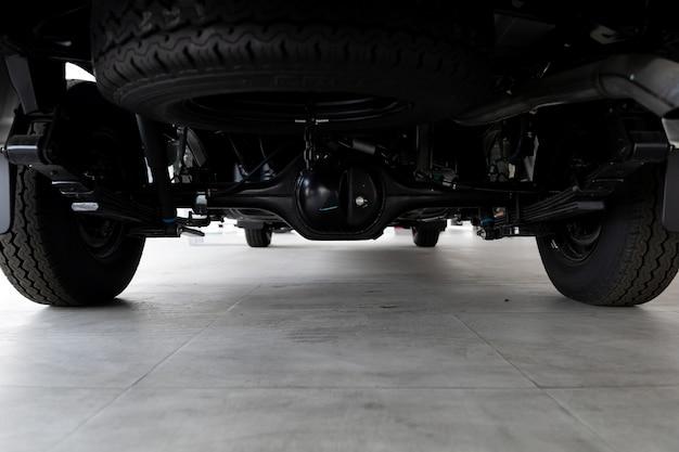 Closeup suspension pickup truck