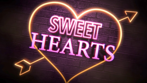 バレンタインデーの光沢のある背景にクローズアップスウィートハーツテキストとロマンチックな心。休日のための豪華でエレガントなスタイルの3dイラスト
