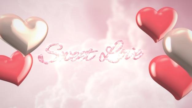 バレンタインデーの光沢のある背景にクローズアップ甘い愛のテキストとロマンチックな心。休日のための豪華でエレガントなスタイルの3dイラスト