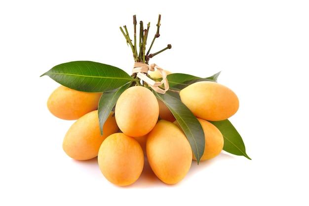 근접 촬영 달콤한 마리안 매화 태국 과일 흰색 표면에 고립 (mayongchid maprang 마리안 매화와 매화 망고, 태국)