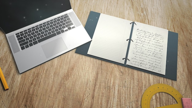 Closeup table of student with notebook and laptop, school background. elegant and luxury 3d illustration of education theme