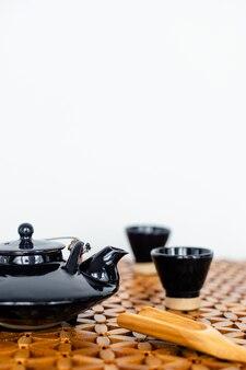 Closeup of tea set on white background
