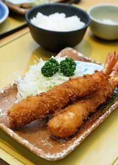 Closeup tempura prawn with rice and soup