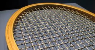 Closeup of a tennis racket