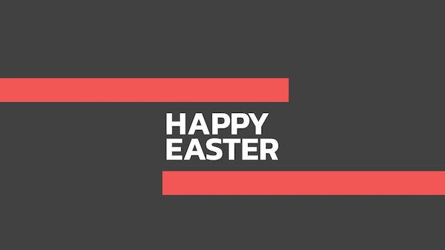 Closeup text happy easter on black fashion and minimalism background with geometric stripes. elegant and luxury 3d illustration style for holiday and promo template
