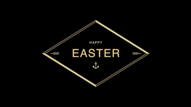 Closeup text happy easter on black fashion and minimalism background with gold frame. elegant and luxury 3d illustration style for holiday and promo template