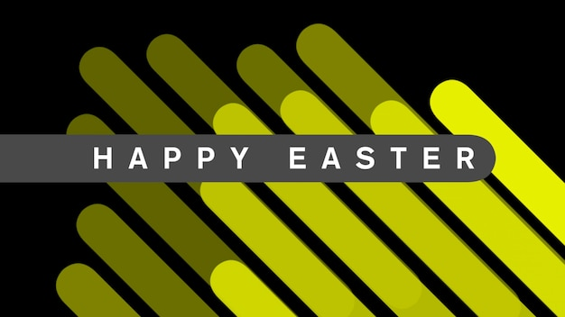Closeup text happy easter on black fashion and minimalism background with yellow geometric stripes. elegant and luxury 3d illustration style for holiday and promo template