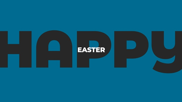 Closeup text happy easter on blue fashion and minimalism background. elegant and luxury 3d illustration style for holiday and promo template
