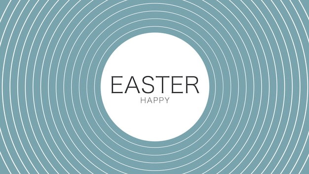 Closeup text happy easter on blue fashion and minimalism background with vertigo lines. elegant and luxury 3d illustration style for holiday and promo template