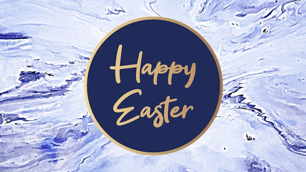 Closeup text happy easter on blue hipster and grunge background with marble pattern. elegant and luxury 3d illustration style for business and promo template