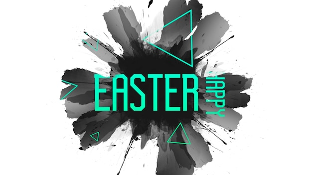 Closeup text happy easter on fashion and hipster background with brush. elegant and luxury 3d illustration style for holiday and promo template