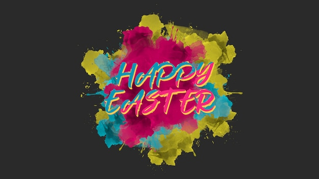 Closeup text happy easter on multicolor fashion and minimalism background with brush. elegant and luxury 3d illustration style for holiday and promo template
