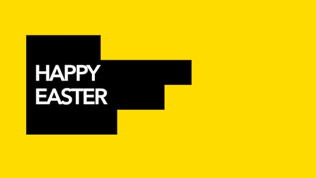 Closeup text happy easter on orange fashion and minimalism background with black geometric stripes. elegant and luxury 3d illustration style for holiday and promo template