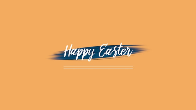 Closeup text happy easter on orange fashion and minimalism background with brush. elegant and luxury 3d illustration style for holiday and promo template