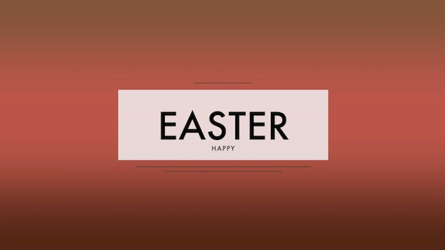 Closeup text happy easter on red fashion and minimalism background. elegant and luxury 3d illustration style for holiday and promo template