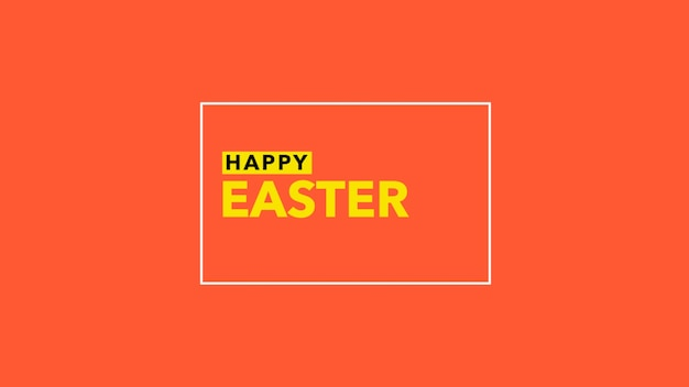 Closeup text happy easter on red fashion and minimalism background with geometric line. elegant and luxury 3d illustration style for holiday and promo template