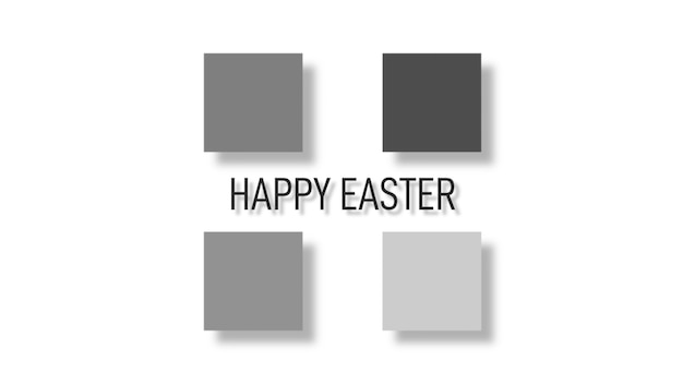 Closeup text happy easter on white fashion and minimalism background with grey and black squares. elegant and luxury 3d illustration style for holiday and promo template