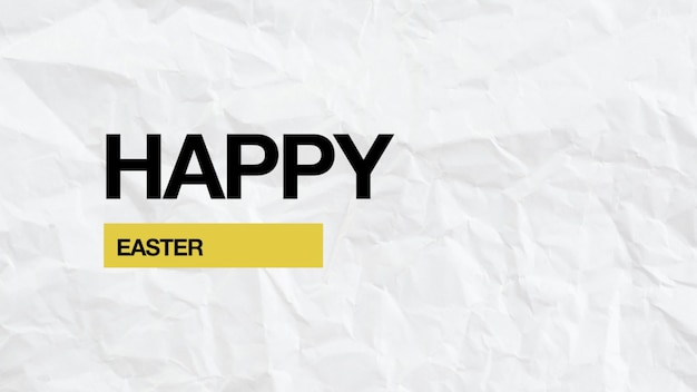 Closeup text happy easter on white hipster and paper background. elegant and luxury 3d illustration style for business and promo template