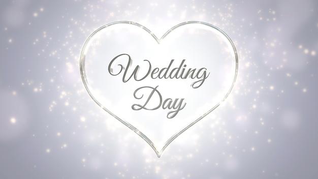 クローズアップテキスト結婚式の日とハエのきらめき、結婚式の背景と愛の白い心。エレガントで豪華なパステル3dイラストスタイル