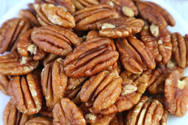 Closeup the texture and detail of dried pecan nuts