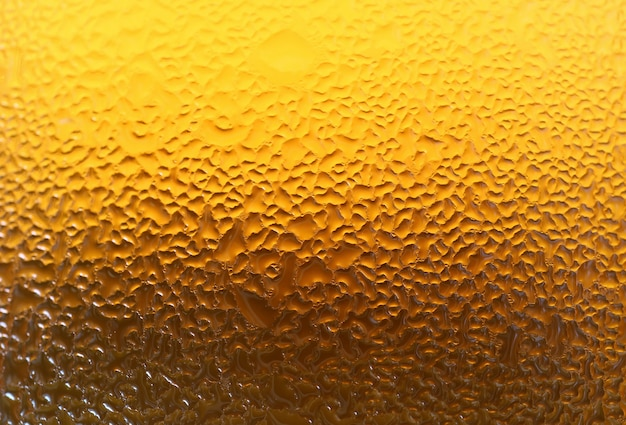 Closeup texture of water droplets on gradient golden yellow lager beer glass bottle