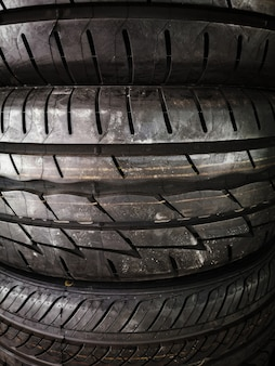 Closeup textured used tires background