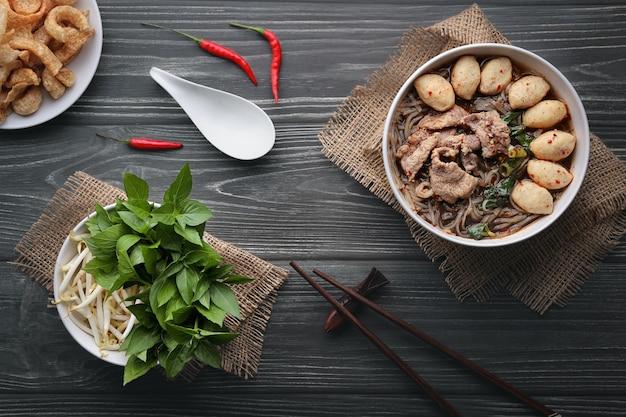 Closeup thai boat noodle culture style top view