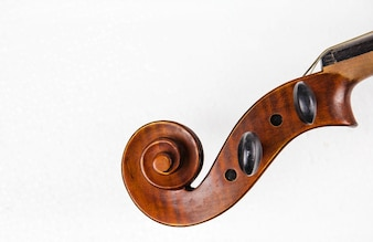 Closeup the neck and the scroll of violin