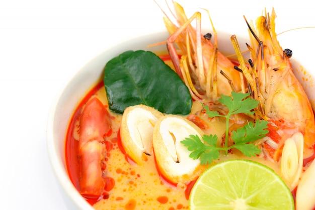 Closeup tom yum soup