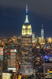 Closeup top scene of new york city cityscape in lower manhattan at the twilight time, usa