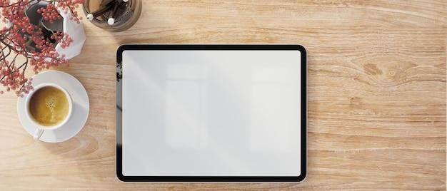 Макет пустого экрана цифрового планшета с видом сверху крупным планом на фоне деревянной поверхности 3d-рендеринга