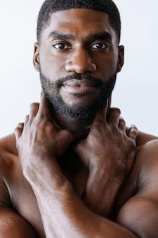 Closeup of a topless muscular man social template